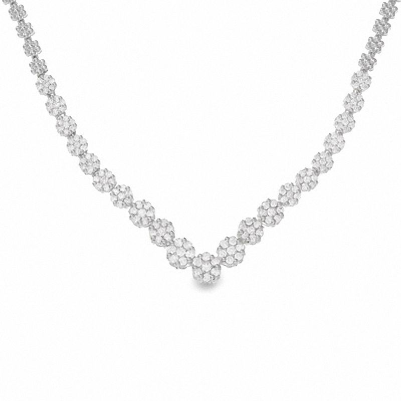 3 CT. T.W. Diamond Chevron Flower Necklace in 14K White Gold