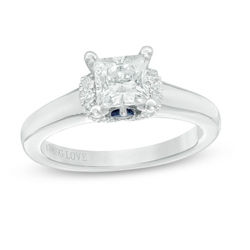 Vera Wang Love Collection 1-1/10 CT. T.W. Princess-Cut Diamond Solitaire Collar Engagement Ring in 14K White Gold
