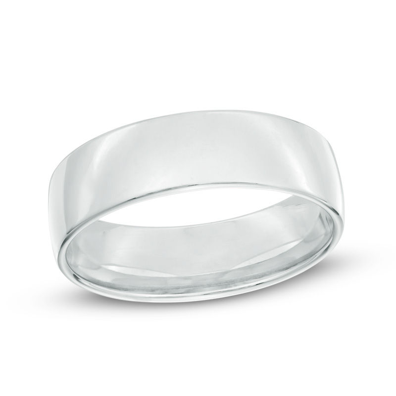 Men's 6.5mm Comfort Fit Wedding Band in 14K White Gold
