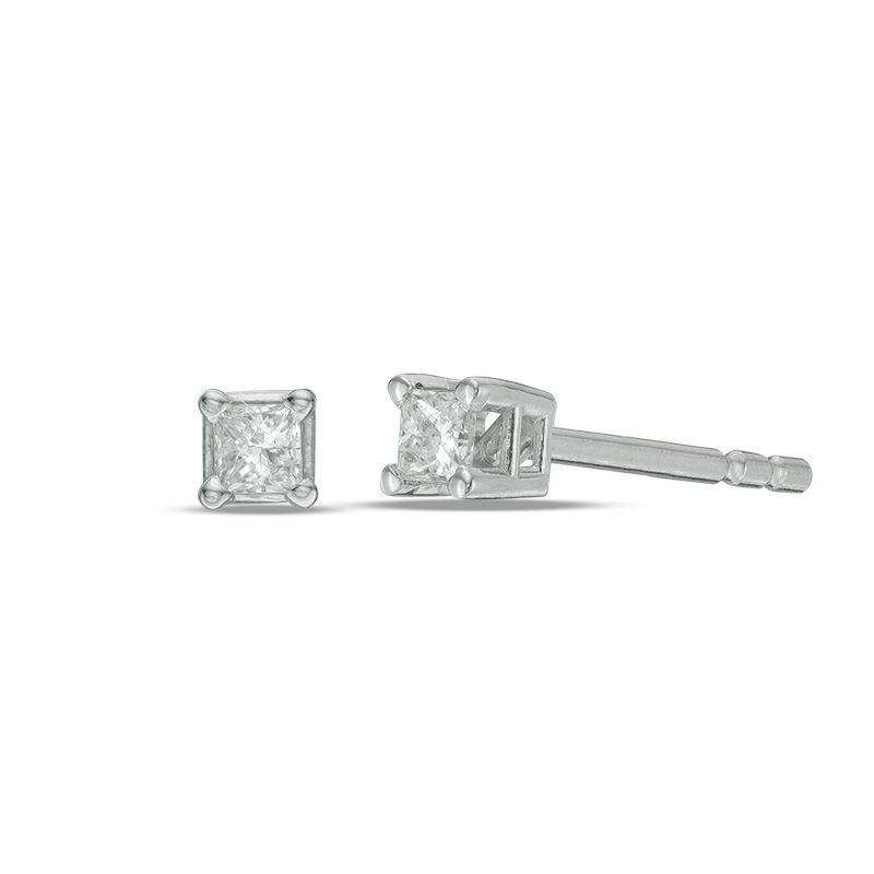 1 CT. T.W. Princess-Cut Diamond Solitaire Stud Earrings in 14K White Gold