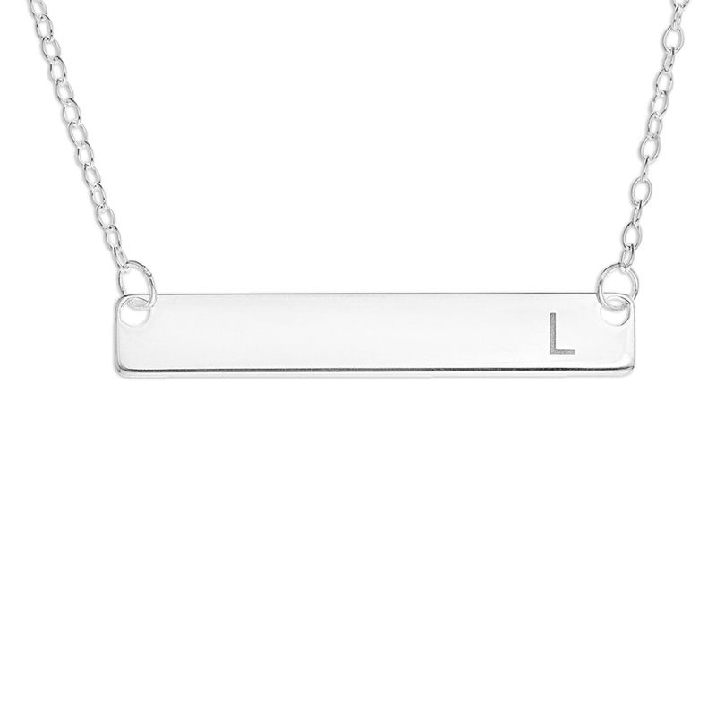 Horizontal Bar Necklace in Sterling Silver (1 Initial) - 16""