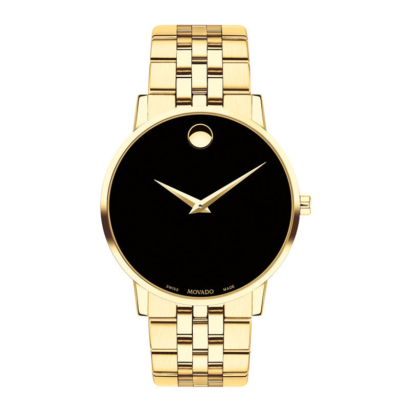 Men's Movado Museum Classic Gold-Tone PVD Watch with Black Dial (Model: 0607203)