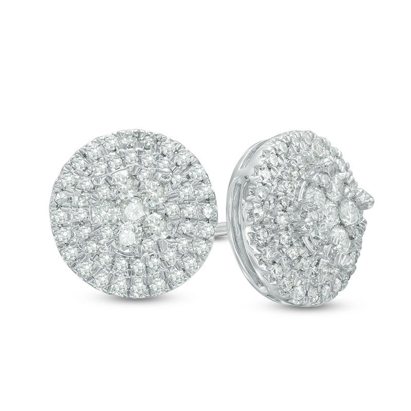 1/2 CT. T.W. Diamond Composite Frame Stud Earrings in 10K White Gold