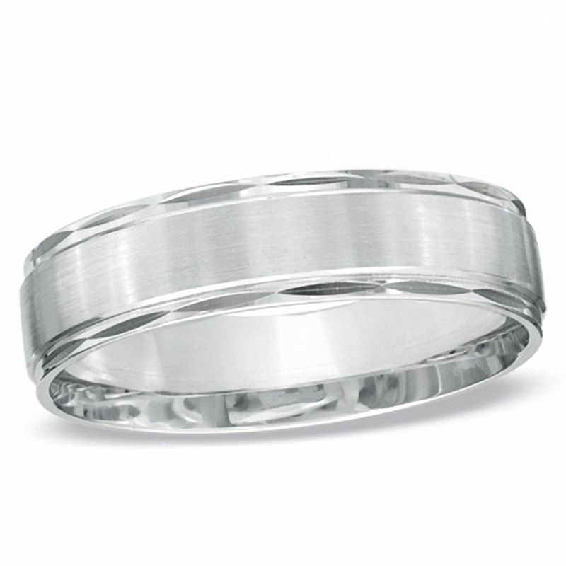 Men's 6.0mm Satin Stripe Wedding Band in 10K White Gold - Size 10