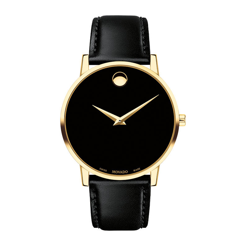 Men's Movado Museum Classic Gold-Tone PVD Strap Watch with Black Dial (Model: 0607271)