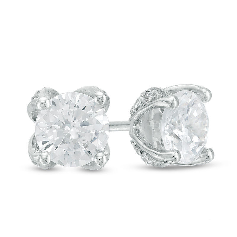 Love's Destiny by Zales 1 CT. T.W. Certified Diamond Solitaire Stud Earrings in 14K White Gold (I/I2)