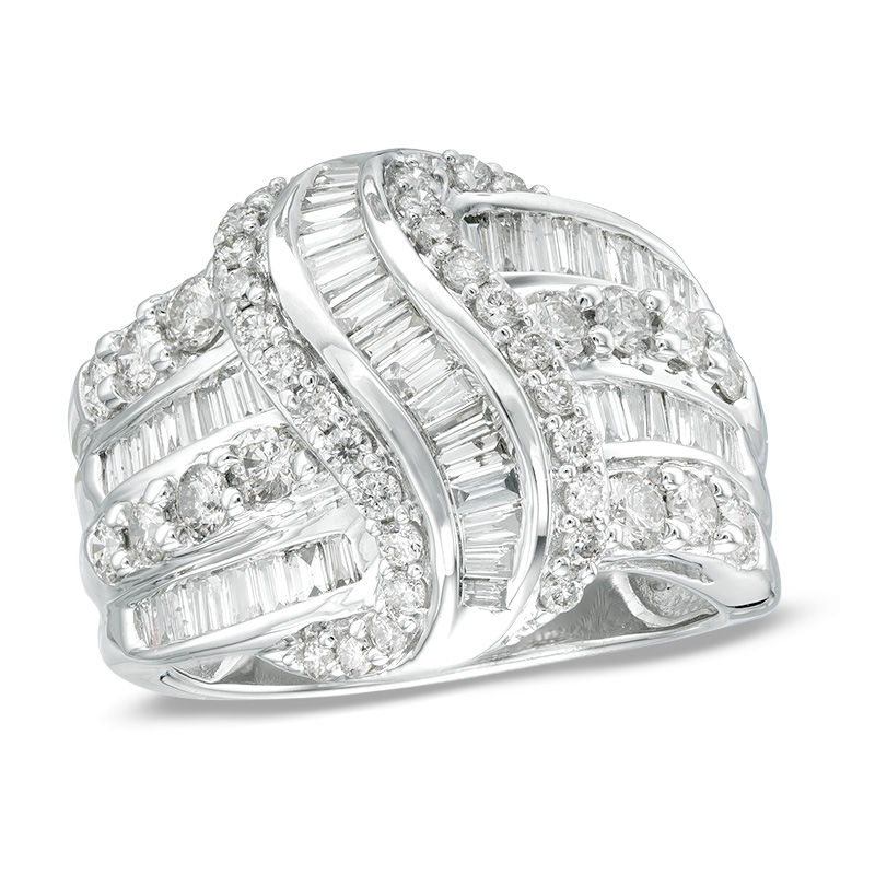 2 CT. T.W. Baguette and Round Diamond Knot Ring in 10K White Gold