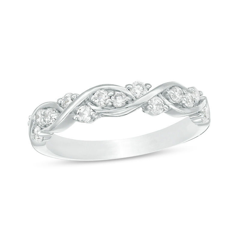 3/8 CT. T.W. Diamond Twist Braid Anniversary Band in 10K White Gold
