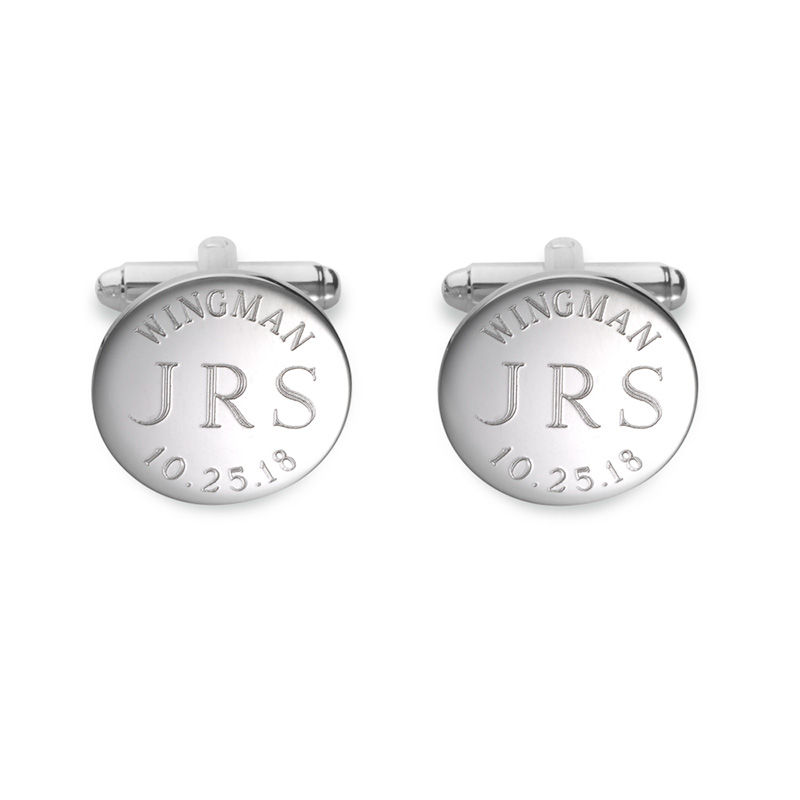 "Men's ""WINGMAN"" Monogram Engravable Circle Cuff Links in Sterling Silver (3 Initials and 1 Date)"