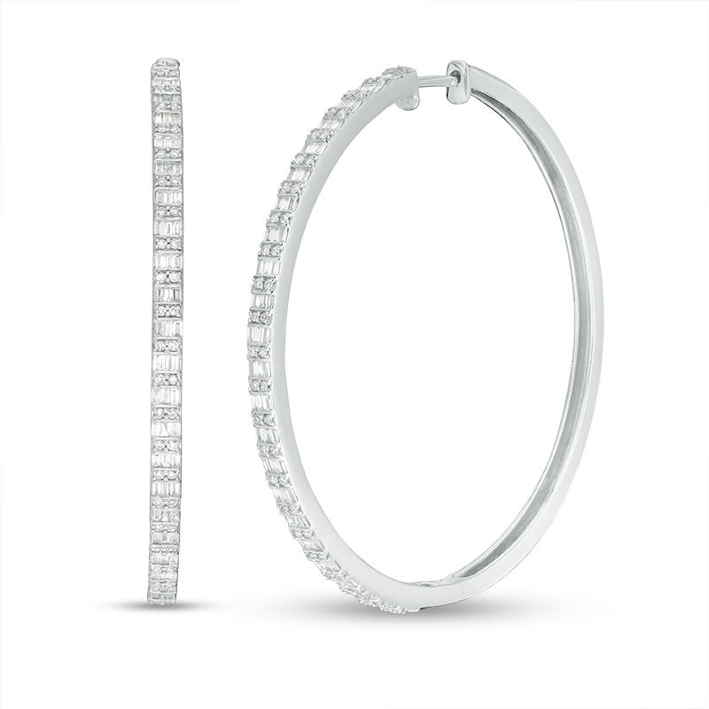 1 CT. T.W. Baguette and Round Diamond Alternating Double Row Hoop Earrings in 10K White Gold