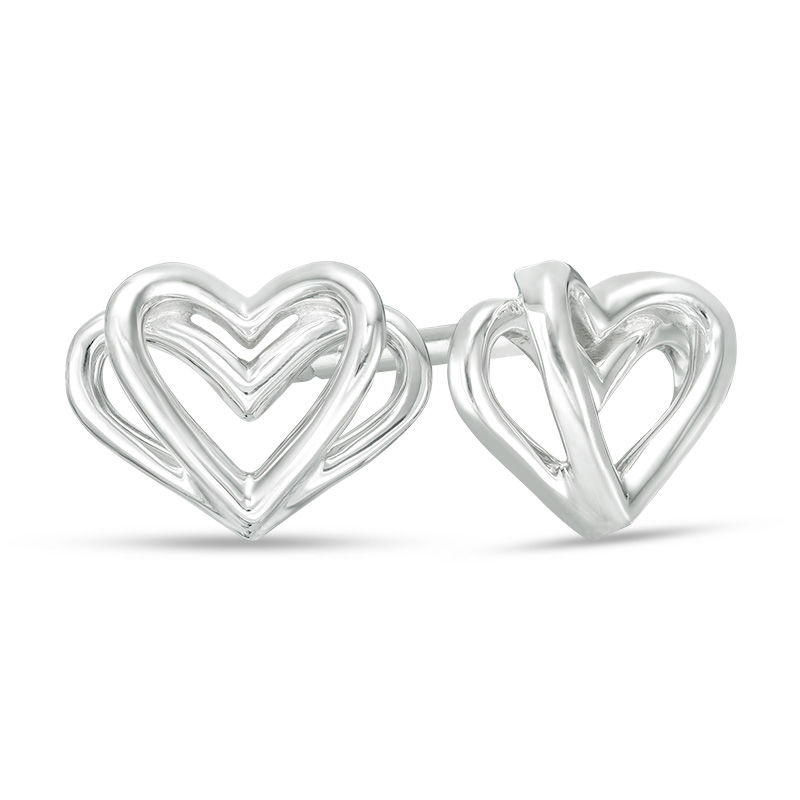 The Kindred Heart from Vera Wang Love Collection Mini Stud Earrings in Sterling Silver