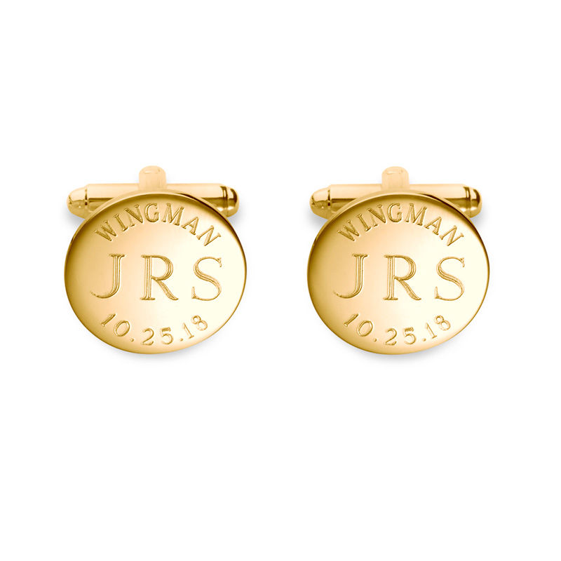 "Men's ""WINGMAN"" Monogram Engravable Circle Cuff Links in Sterling Silver with 18K Gold Plate (3 Initials and 1 Date)"