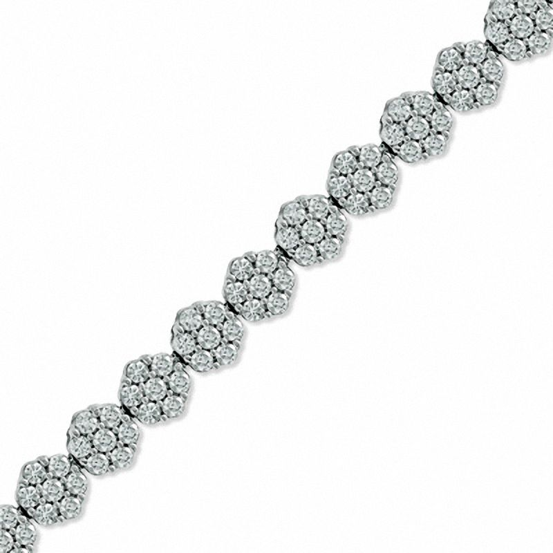 5 CT. T.W. Diamond Graduated Flower Bracelet in 14K White Gold