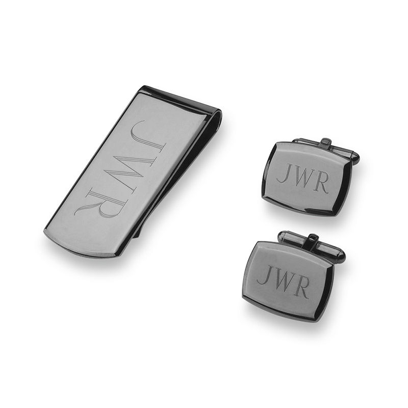 Men's Engravable Money Clip and Cuff Links Set in Brass with Gunmetal Grey Electroplate (3 Initials)