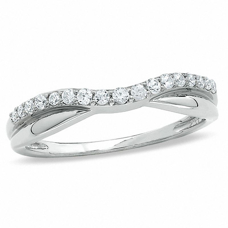 1/4 CT. T.W. Diamond Twist Contour Band in 14K White Gold